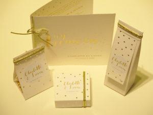 huwelijksbedankjes goud met witte bolletjes